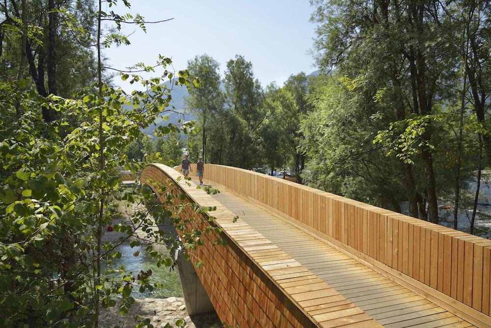 The bicycle bridge across the Sava River